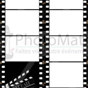 Thème photobooth borne photo selfie photomatt cinéma noir clap pellicule